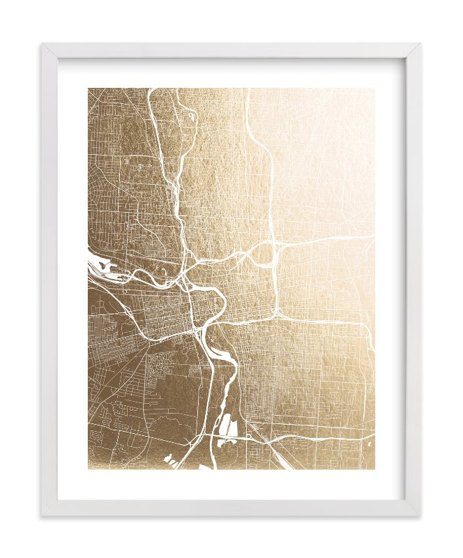 This is a gold foil stamped wall art by Alex Elko Design called Columbus Map.
