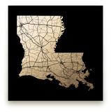 Louisiana Map Foil-Pressed Wall Art