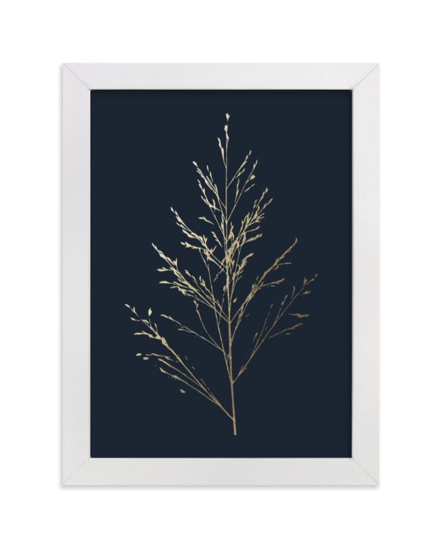 This is a blue foil stamped wall art by LemonBirch Design called Wild grass.