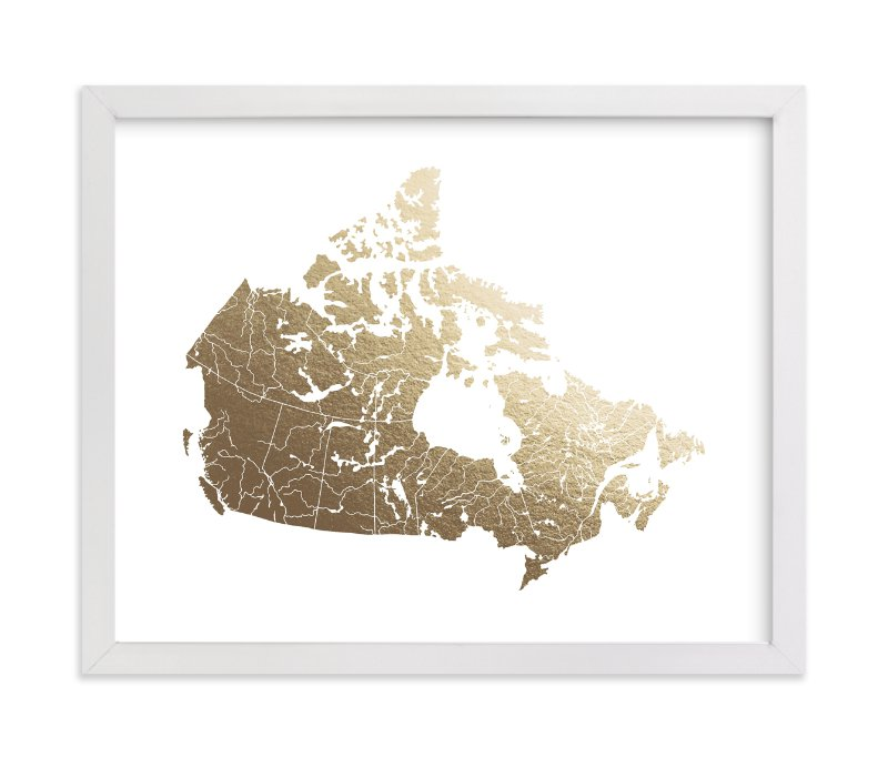 """Canada Map"" - Foil-pressed Art Print by Jorey Hurley in beautiful frame options and a variety of sizes."