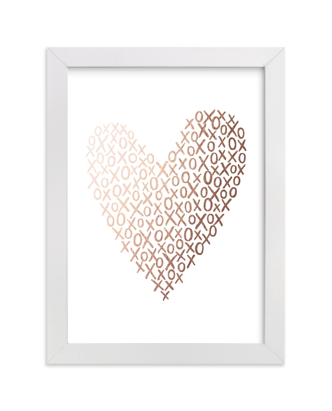 """Hugs And Kisses Heart"" - Foil-pressed Art Print by Hooray Creative in beautiful frame options and a variety of sizes."