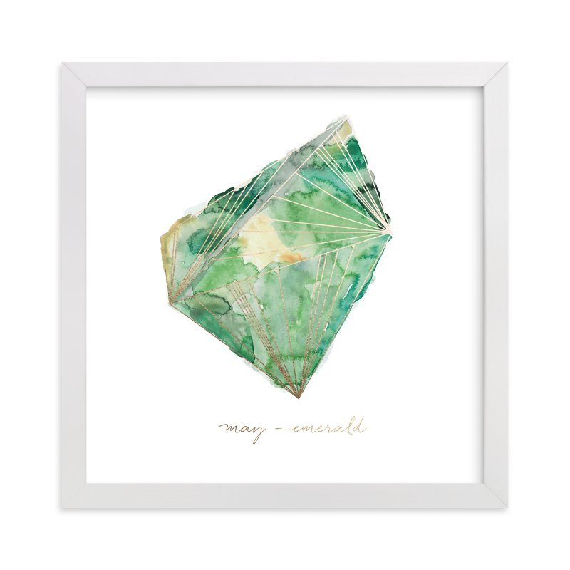 """May - Emerald"" - Foil-pressed Art Print by Naomi Ernest in beautiful frame options and a variety of sizes."