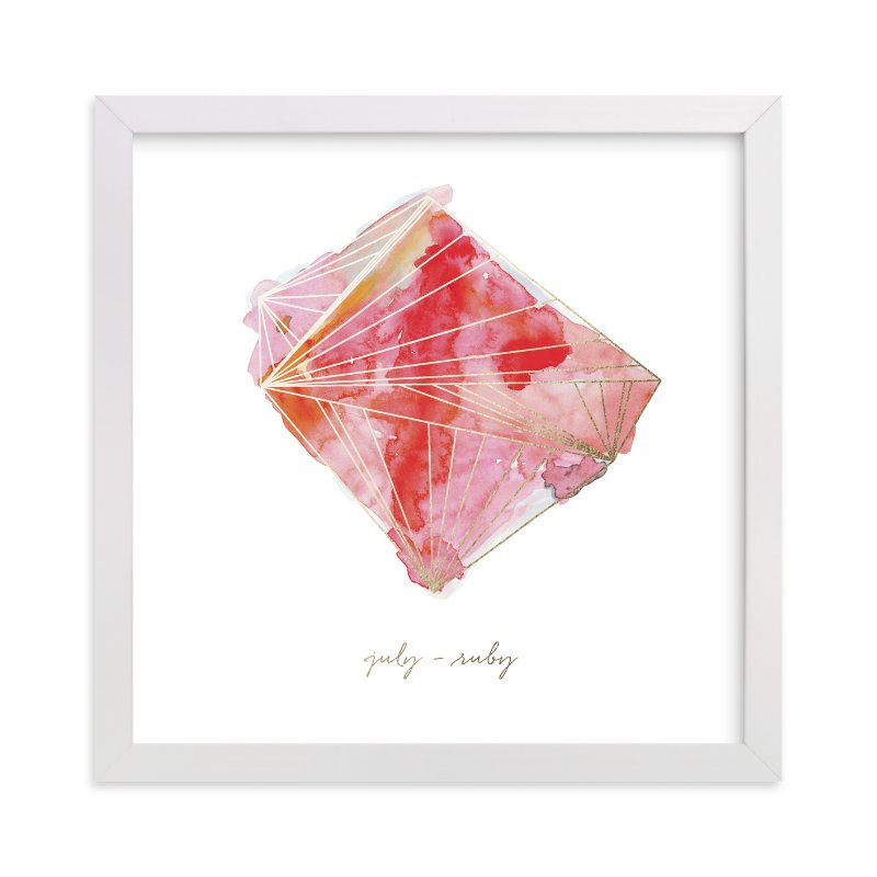 """""""July - Ruby"""" - Foil-pressed Art Print by Naomi Ernest in beautiful frame options and a variety of sizes."""