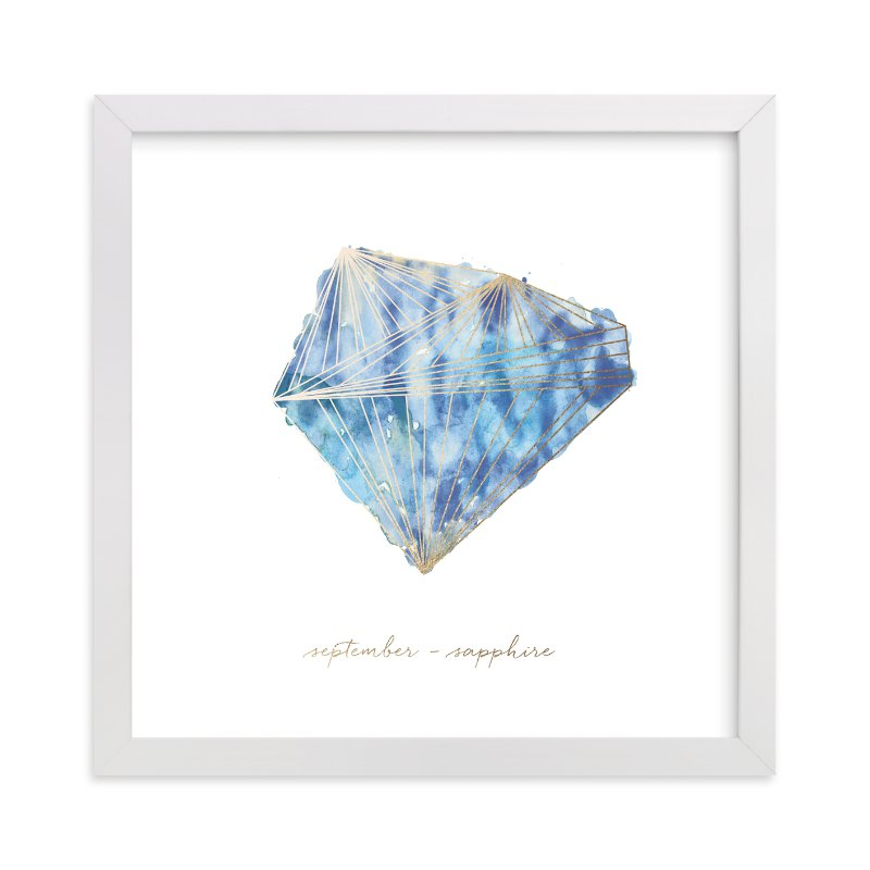 """""""September - Sapphire"""" - Foil-pressed Art Print by Naomi Ernest in beautiful frame options and a variety of sizes."""