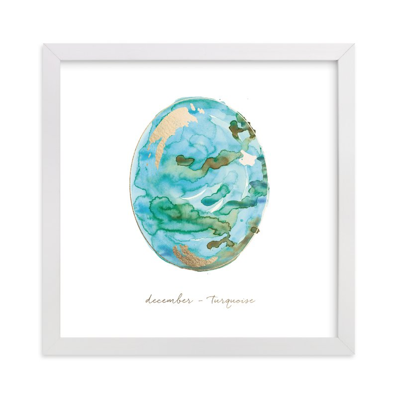 """""""December - Turquoise"""" - Foil-pressed Art Print by Naomi Ernest in beautiful frame options and a variety of sizes."""
