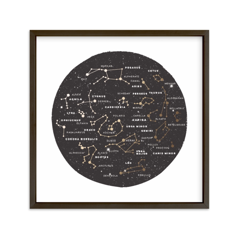 """Constellation Map"" - [non-custom] Foil-pressed Art Print by Jessie Steury in beautiful frame options and a variety of sizes."