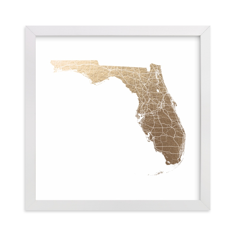 """""""Florida Map Filled"""" - Foil-pressed Art Print by GeekInk Design in beautiful frame options and a variety of sizes."""