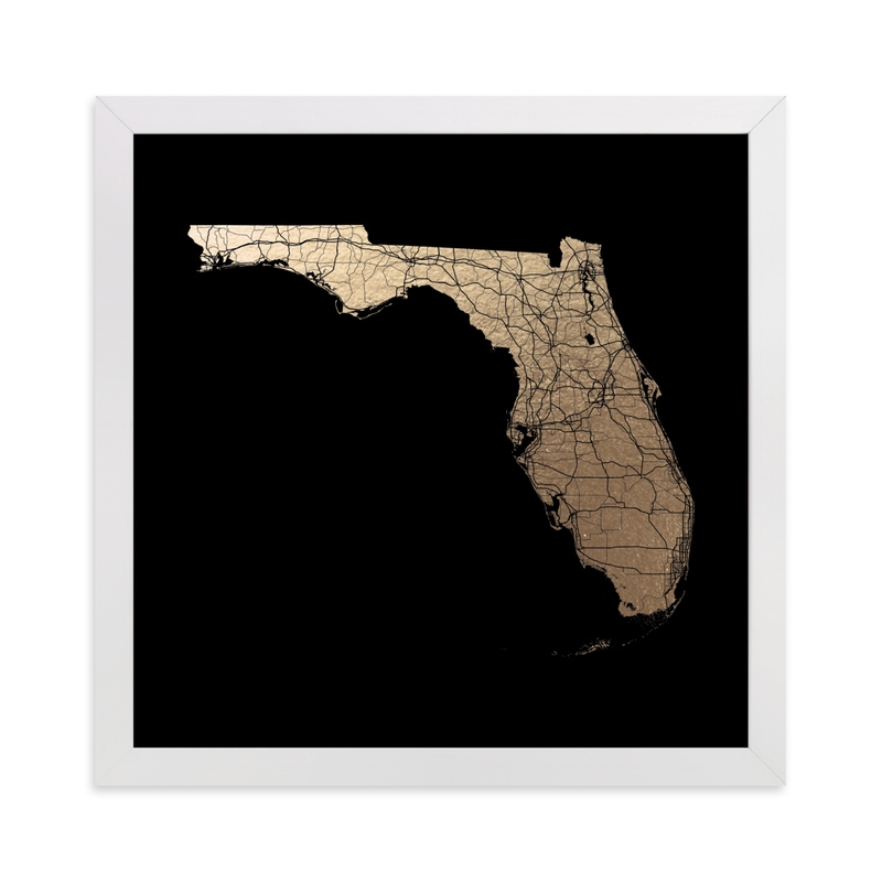 """""""Florida Map Filled"""" - [non-custom] Foil-pressed Art Print by GeekInk Design in beautiful frame options and a variety of sizes."""