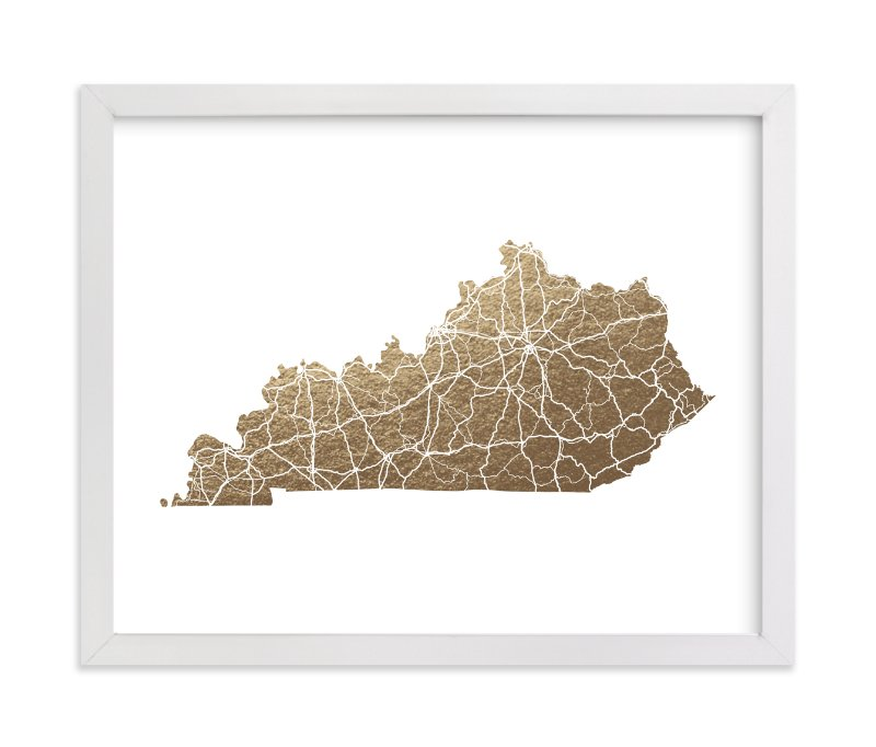 """""""Kentucky Map"""" - Foil-pressed Art Print by GeekInk Design in beautiful frame options and a variety of sizes."""