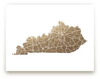 Kentucky Map Foil-Pressed Wall Art