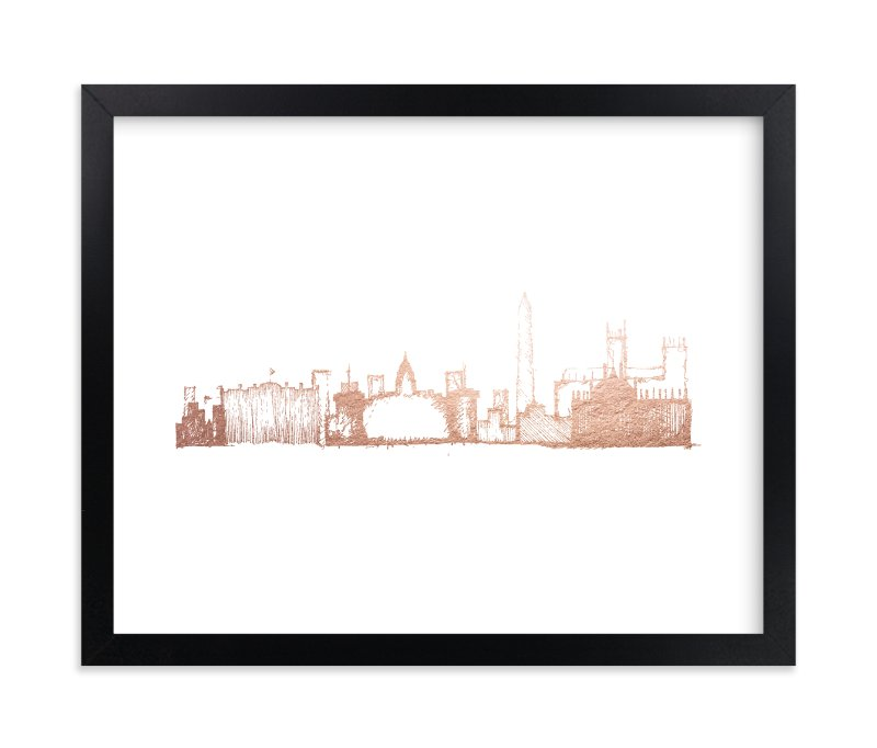 """""""Washington D.C. Skyline"""" - [non-custom] Foil-pressed Art Print by Phrosne Ras in beautiful frame options and a variety of sizes."""