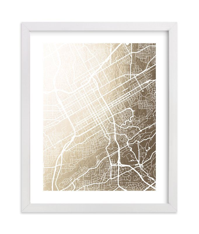 """""""Birmingham Map"""" - [non-custom] Foil-pressed Art Print by Laura Condouris in beautiful frame options and a variety of sizes."""