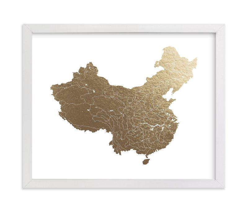 """""""China Map"""" - [non-custom] Foil-pressed Art Print by Jorey Hurley in beautiful frame options and a variety of sizes."""