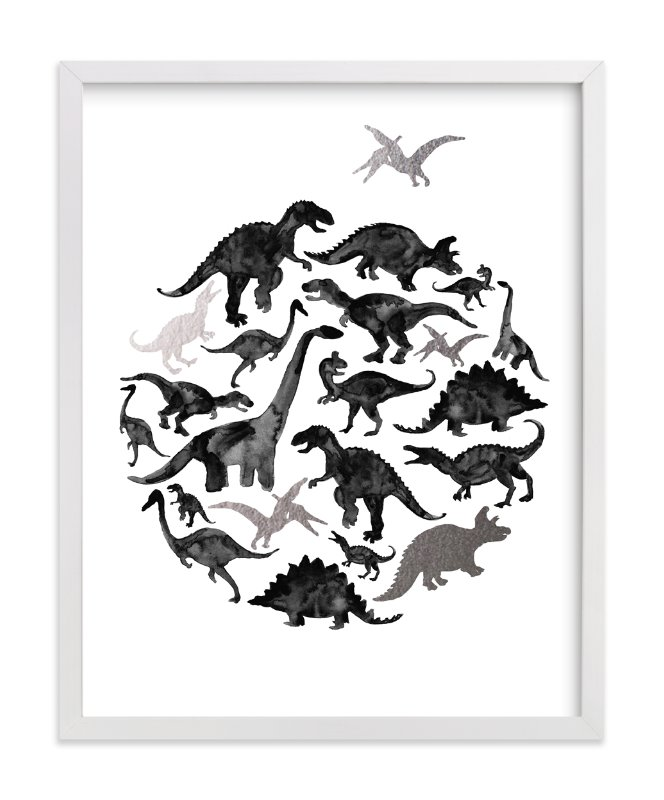 This is a black and white foil stamped wall art by Susanne Kasielke called Jurassic Circle with standard.