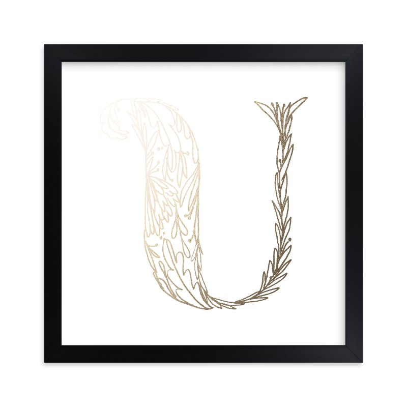 """""""Botanical U"""" - Foil-pressed Art Print by Grace Kreinbrink in beautiful frame options and a variety of sizes."""