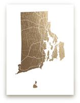Rhode Island Map Foil-Pressed Wall Art