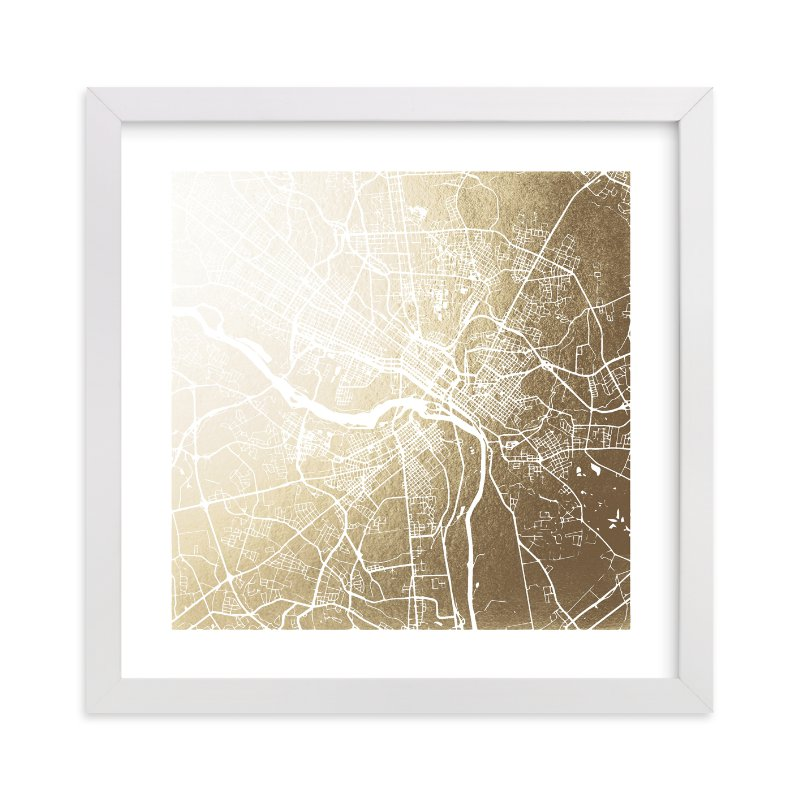 """""""Richmond Map"""" - Foil-pressed Art Print by Melissa Kelman in beautiful frame options and a variety of sizes."""
