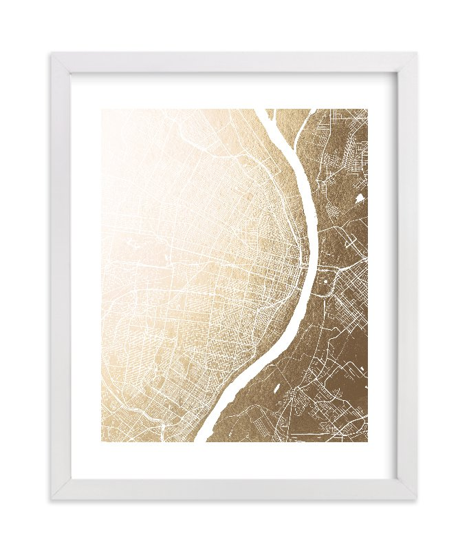 """""""St. Louis Map"""" - [non-custom] Foil-pressed Art Print by Melissa Kelman in beautiful frame options and a variety of sizes."""