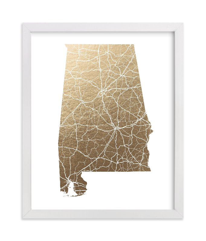 """Alabama Map"" - [non-custom] Foil-pressed Art Print by GeekInk Design in beautiful frame options and a variety of sizes."