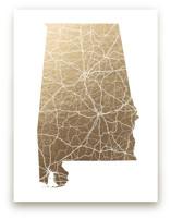 Alabama Map Foil-Pressed Wall Art