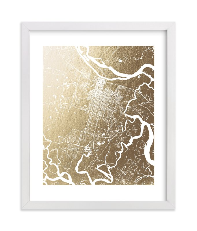 """Savannah Map"" - [non-custom] Foil-pressed Art Print by Melissa Kelman in beautiful frame options and a variety of sizes."