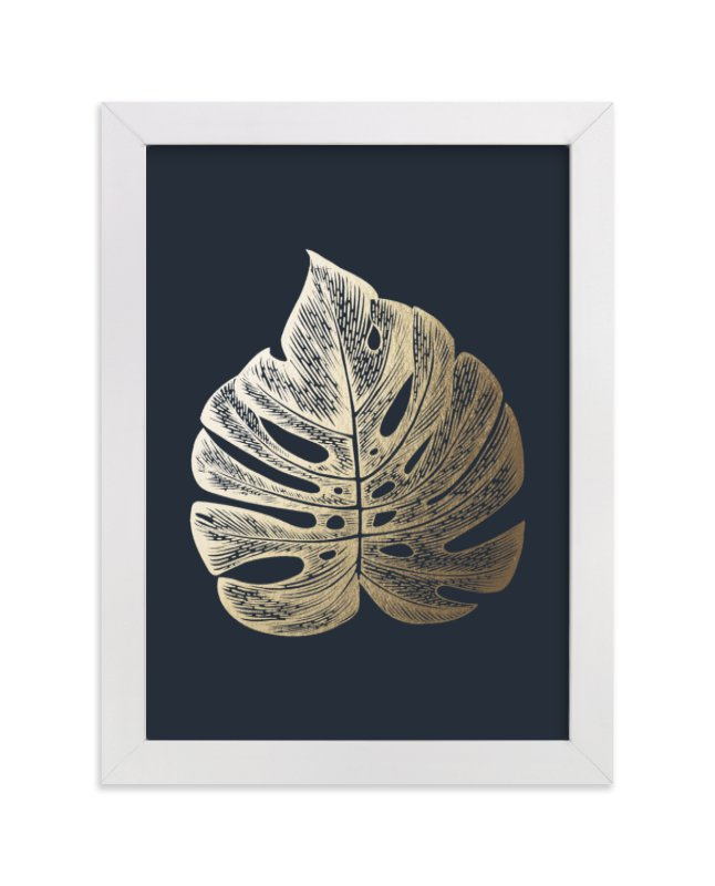 This is a blue foil stamped wall art by annie clark called Leaf Study 3 with standard.