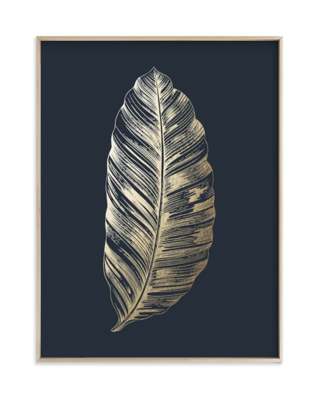 """Leaf Study 2"" - Foil-pressed Art Print by annie clark in beautiful frame options and a variety of sizes."