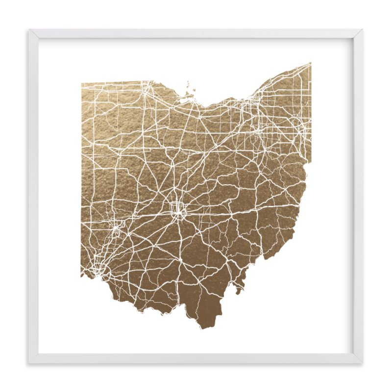 This is a gold foil stamped wall art by GeekInk Design called Ohio Map.