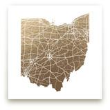 Ohio Map Foil-Pressed Wall Art