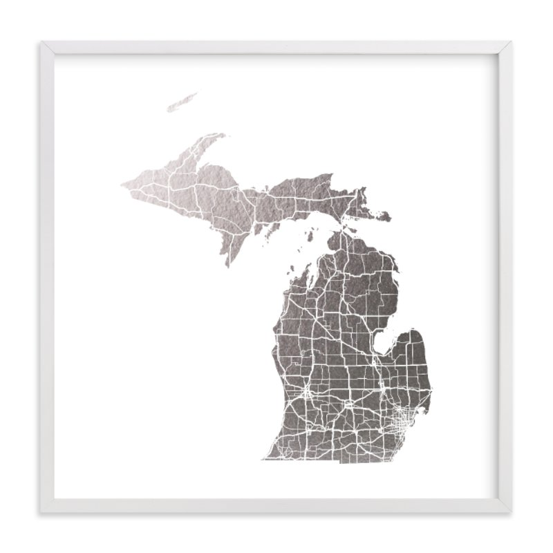 This is a white foil stamped wall art by GeekInk Design called Michigan Map.