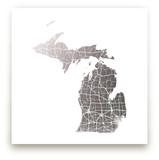 Michigan Map Foil-Pressed Wall Art