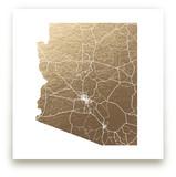 Arizona Map Foil-Pressed Wall Art