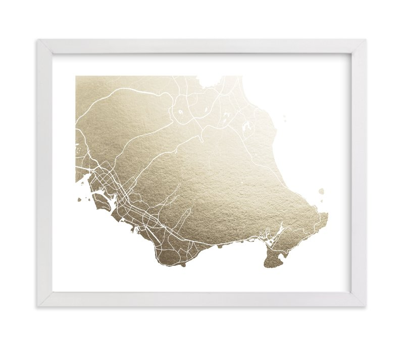 """""""Honolulu Map"""" - [non-custom] Foil-pressed Art Print by Laura Condouris in beautiful frame options and a variety of sizes."""