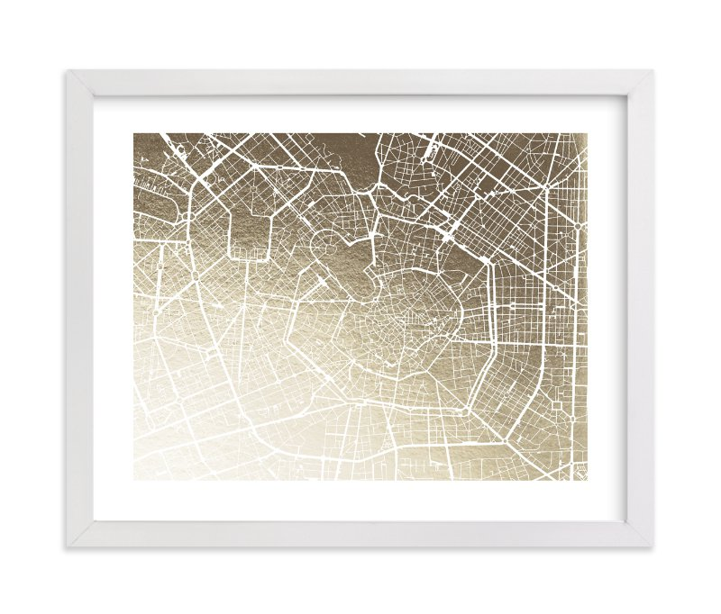 """Milan Map"" - [non-custom] Foil-pressed Art Print by Laura Condouris in beautiful frame options and a variety of sizes."