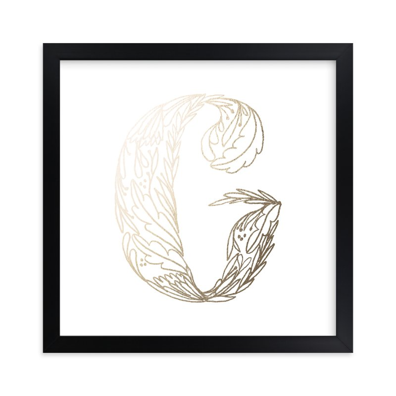 """Botanical G"" - Foil-pressed Art Print by Grace Kreinbrink in beautiful frame options and a variety of sizes."