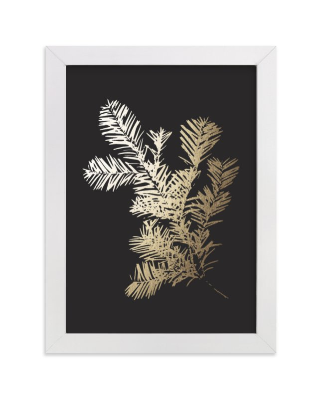 This is a black foil stamped wall art by LemonBirch Design called Silver Fir with standard.