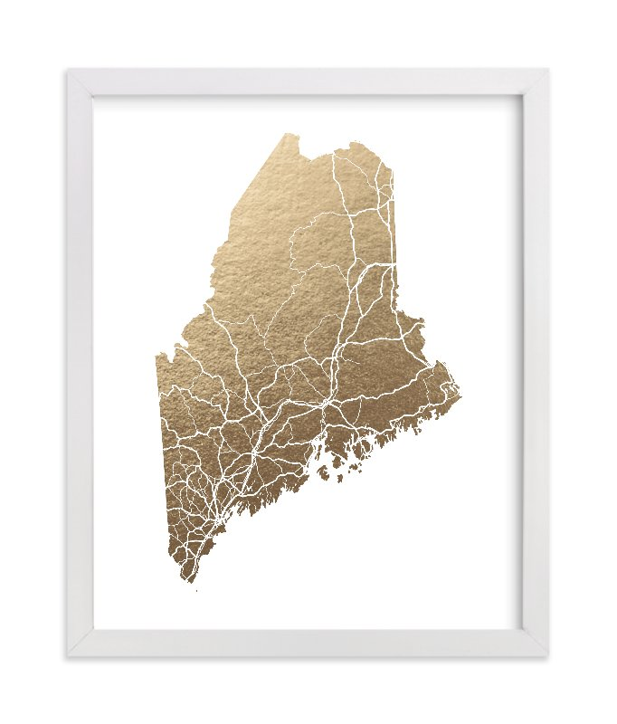 """""""Maine Map"""" - Foil-pressed Art Print by GeekInk Design in beautiful frame options and a variety of sizes."""