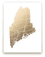 Maine Map Foil-Pressed Wall Art