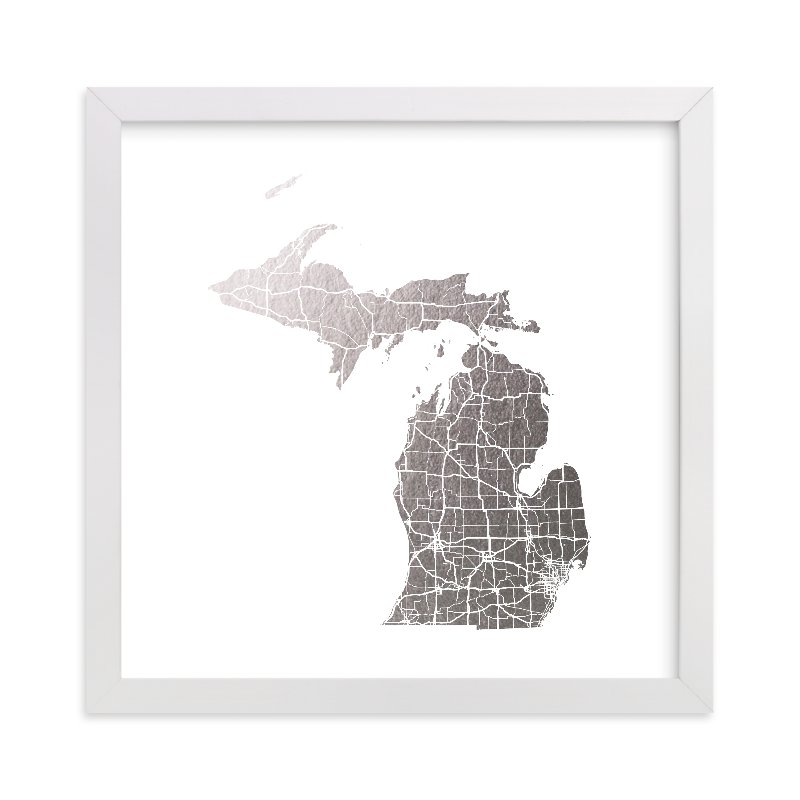 """""""Michigan Map"""" - [non-custom] Foil-pressed Art Print by GeekInk Design in beautiful frame options and a variety of sizes."""