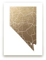 Nevada Map Foil-Pressed Wall Art