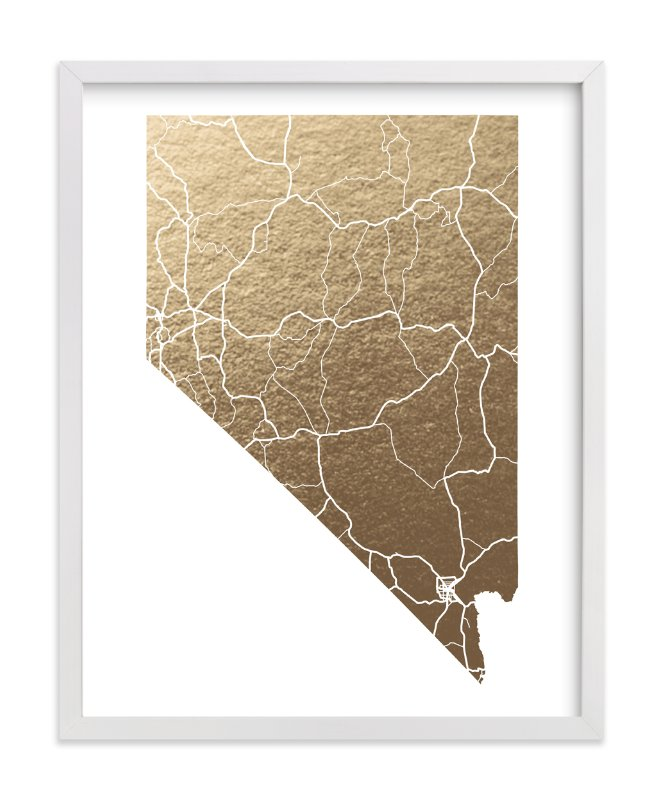 This is a gold foil stamped wall art by GeekInk Design called Nevada Map.
