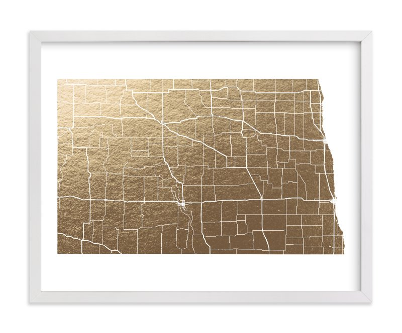 This is a gold foil stamped wall art by GeekInk Design called North Dakota Map.
