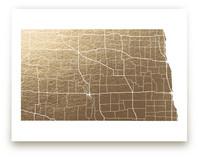 North Dakota Map Foil-Pressed Wall Art