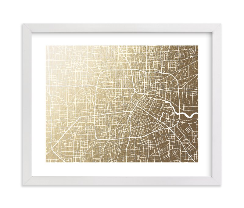 """""""Houston Map"""" - [non-custom] Foil-pressed Art Print by Griffinbell Paper Co. in beautiful frame options and a variety of sizes."""