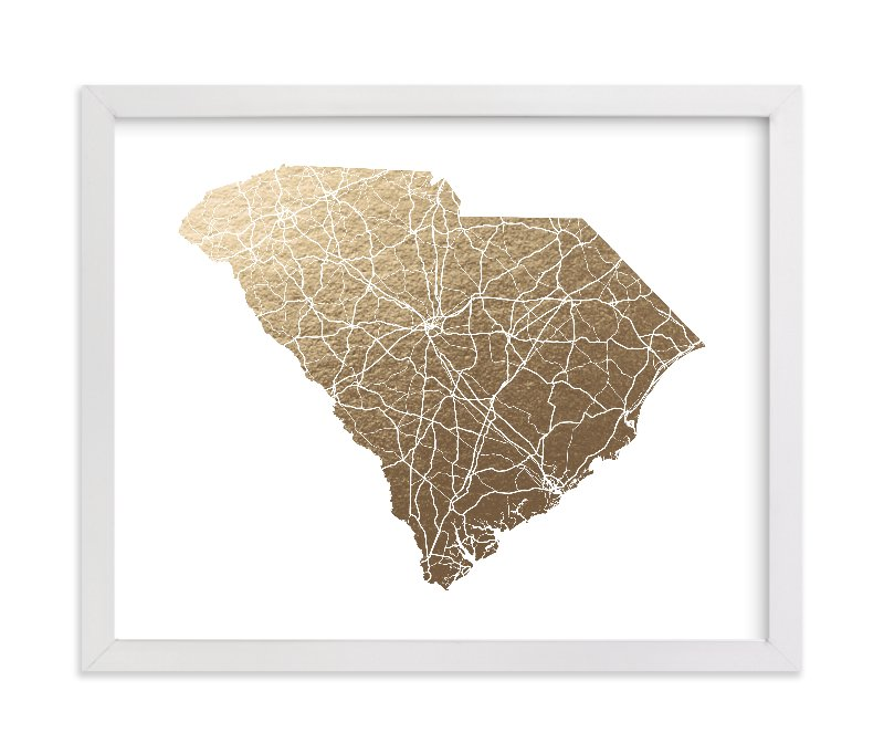 """South Carolina Map"" - Foil-pressed Art Print by GeekInk Design in beautiful frame options and a variety of sizes."