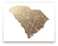 South Carolina Map Foil-Pressed Wall Art