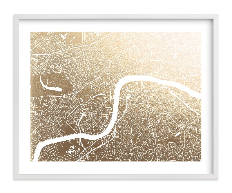 """""""London Map"""" - Foil-pressed Art Print by Alex Elko Design in beautiful frame options and a variety of sizes."""