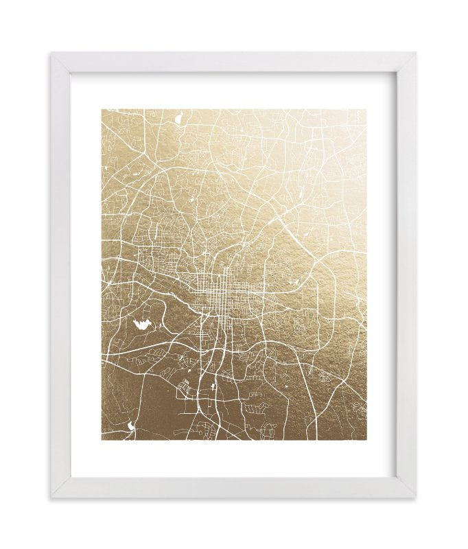 """""""Raleigh Map"""" - [non-custom] Foil-pressed Art Print by Melissa Kelman in beautiful frame options and a variety of sizes."""