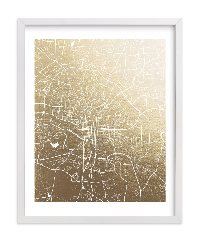 Raleigh Map Foil-Pressed Wall Art By Melissa Kelman
