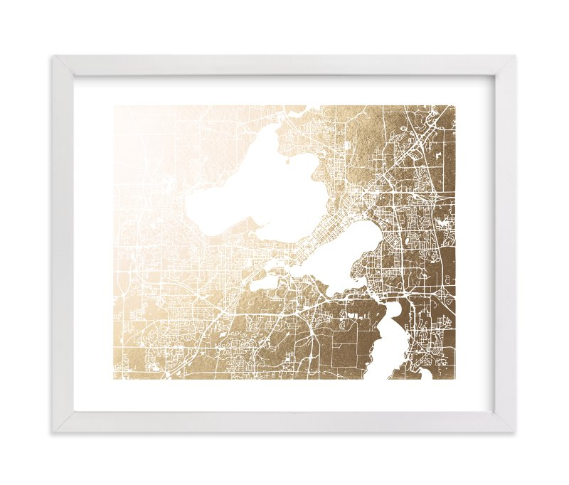 """Madison Map"" - Foil-pressed Art Print by Melissa Kelman in beautiful frame options and a variety of sizes."